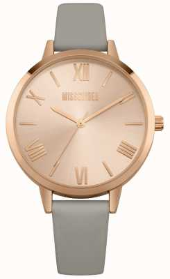 Missguided | Ladies Watch | Grey Leather Strap Pink Dial | MG001ERG