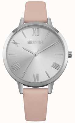 Missguided | Ladies Watch | Pink Leather Strap Silver Dial | MG001P