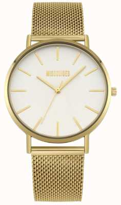 Missguided | Ladies Gold Steel Mesh | White Dial | MG016GM