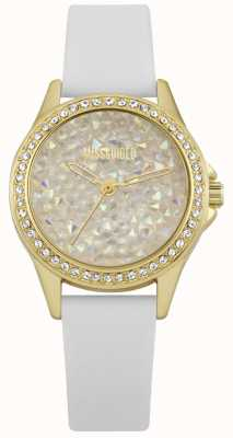 Missguided   Ladies Watch   White Leather Strap Gold Case   MG013WG