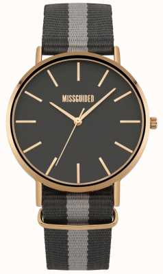 Missguided | Ladies Watch | Black And Grey Fabric Strap | MG018ERG