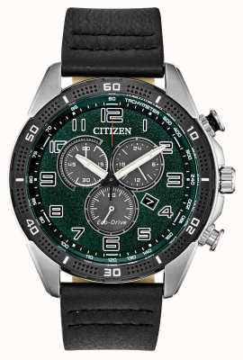 Citizen Eco-Drive Action Required Men's Green Dial Leather WR100 AT2441-08X