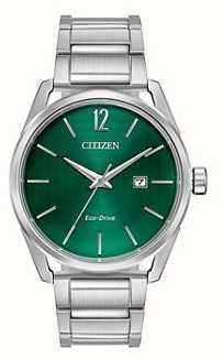 Citizen Men's Eco-Drive Metal Bracelet Green Dial BM7410-51X