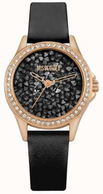 Missguided | Women's Black Leather Strap | Black Crystal Dial | MG013BRG