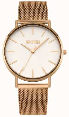 Missguided | Womens Rose Gold Steel Mesh | White Dial | MG016RGM