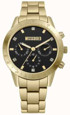 Missguided | Women's Gold Stainless Steel | Black Dial | Chronograph | MG004GM