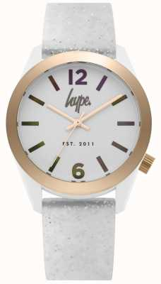 Hype | Womens White Glitter Silicone Strap | Silver Dial | HYL004S