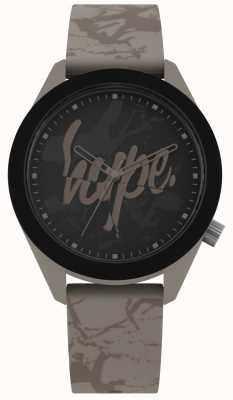 Hype | Mens Warm Grey Silicone Strap | Black Dial | HYG005BR