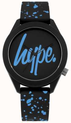 Hype | Mens Black And Blue Silicone Strap | Black/Blue Dial | HYG003BU