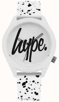 Hype | Mens White And Black Print Silicone Strap | White Dial | HYG003W