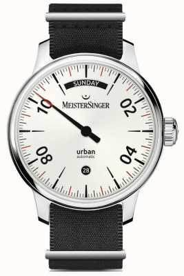 MeisterSinger Urban Day Date Opaline Silver | Black Nylon and Brown Strap URDD901