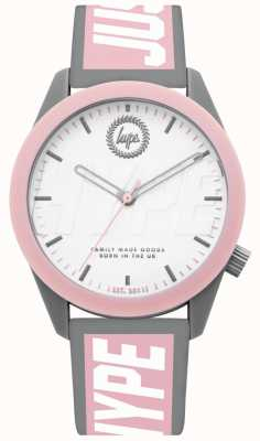 Hype | Ladies Watch | Grey And Pink Silicone Strap | HYL018PW