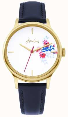 Joules | Ladies Watch | Blue Leather Strap | Floral White Dial | JSL017UG