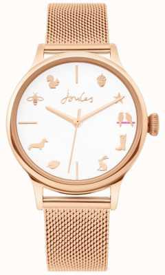 Joules   Ladies Watch   Rose Gold Mesh Strap   White Dial   JSL011RGM