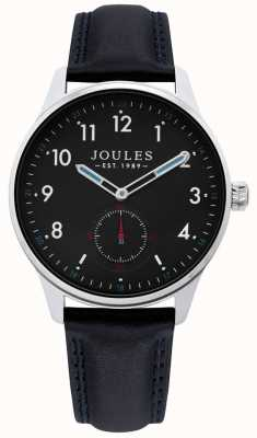 Joules | Mens Harrow Watch | Black Leather Strap | JSG008B