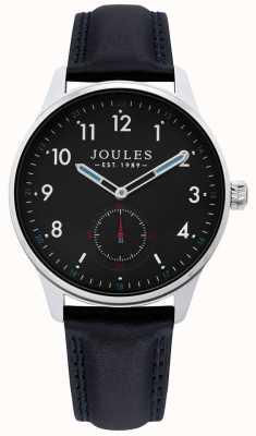 Joules | Mens Harrow Watch | Black Leather Strap | JSG008B