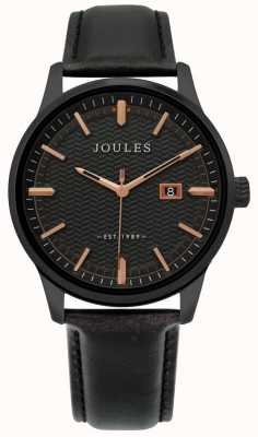Joules | Mens Marfield Watch | Black Leather Strap | Black Dial | JSG009NB