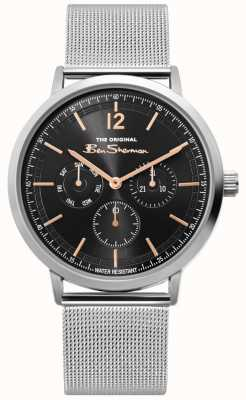 Ben Sherman | Mens Silver Mesh Watch | Black Dial | BS011ESM