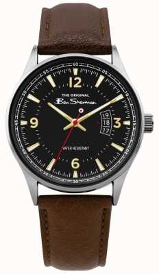 Ben Sherman | Mens Brown Leather Script Watch | Black Dial | BS008BR