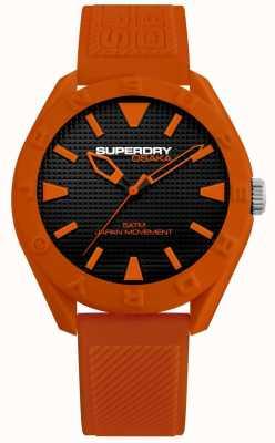 Superdry   Osaka   Matt Black Dial   Orange Textured Strap   SYG243O
