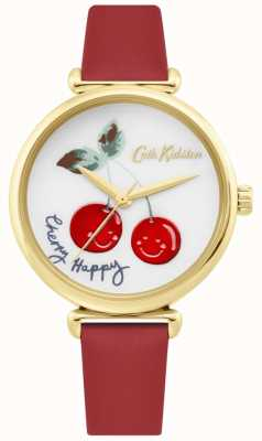 Cath Kidston | Womens Cherry Happy Watch | Red Leather Strap | White Dial CKL081RG