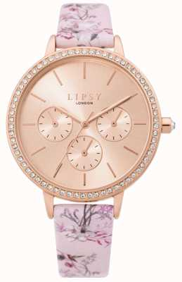 Lipsy | Womens Floral Pink Strap | Rose Gold Dial | LP648
