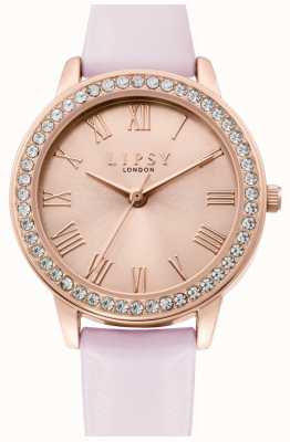 Lipsy | Womens Pink Leather Strap | Rose Gold Sunray Dial | LP655