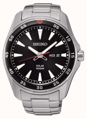 Seiko Mens Solar Stainless steel Bracelet Black Dial SNE393P1