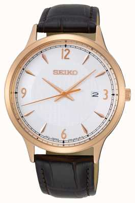 Seiko Men's Gold Plated Case Leather Strap SGEH88P1