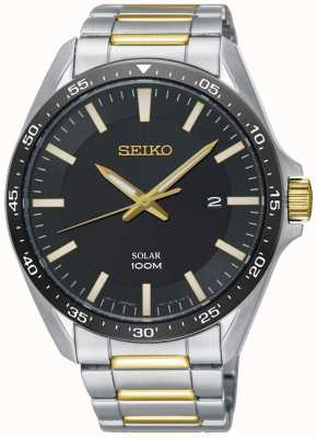 Seiko Men's Solar Two Tone Stainless Steel Black Dial SNE485P1