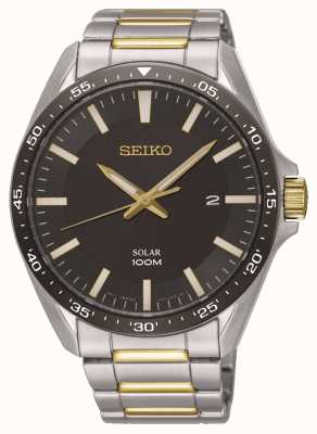 Seiko | Men's Solar Two Tone Stainless Steel Black Dial | SNE485P1