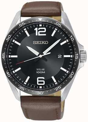 Seiko Men's Solar Brown Leather Strap Black Dial SNE487P1