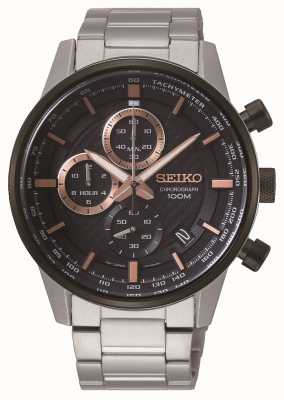 Seiko Men's Stainless Steel Chronograph Rose Gold Plated Numerals SSB331P1