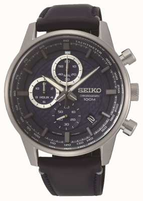 Seiko Men's 100m Chronograph Leather Strap SSB333P1