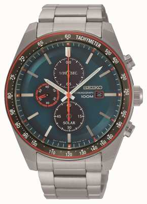 Seiko Men's Solar Chronograph Blue Dial Stainless Steel SSC717P1