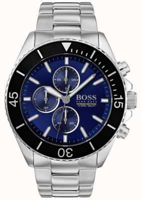 BOSS | Mens Ocean Edition | Silver Stainless Steel | Blue Dial | 1513704
