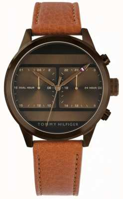 Tommy Hilfiger | Men's Brown Leather Strap Watch | 1791594