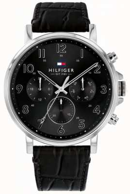Tommy Hilfiger Daniel | Black Leather Strap | Black Dial 1710381