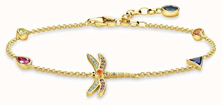 Thomas Sabo | Gold Plated Multi Stone Dragonfly Bracelet | A1839-315-7-L19V