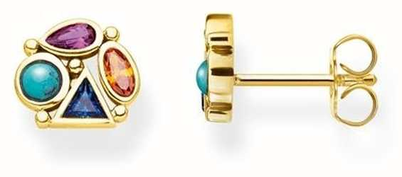 Thomas Sabo   Gold Plated Multi-Colour Stones Earrings   H2034-319-7