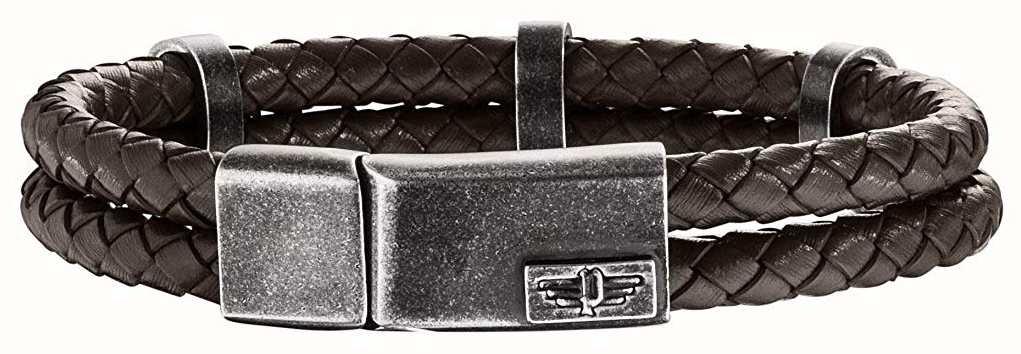 Police Mens Brown Leather Bracelet 25715BLC/02-L