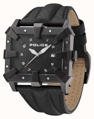 Police Mens Black Leather Strap Black Dial PL.93404AEU/02A
