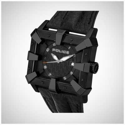Police Mens Black Leather Strap Black Dial PL.93404AEU/02A