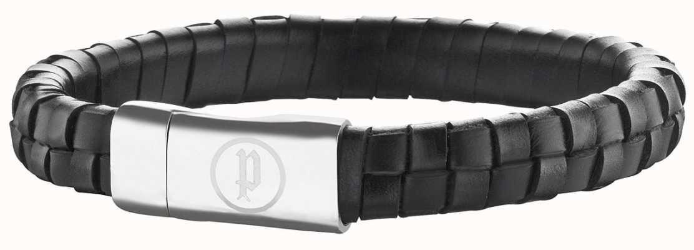 Police Mens Leather Bracelet Stainless Steel Connector 25689BLB/01-L