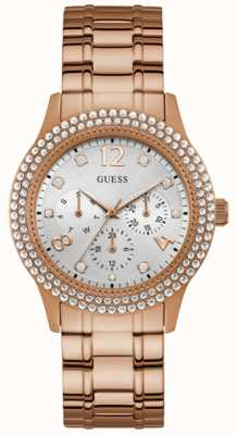 Guess | Womens Bedazzle | Rose Gold Bracelet | Silver Dial | W1097L3