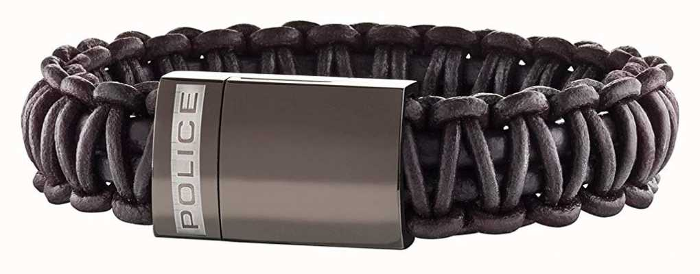 Police Mens Brown Leather Bracelet 25687BLC/02-L