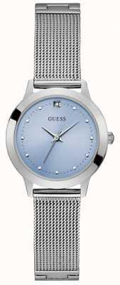 Guess | Womens Chelsea | Silver Mesh Bracelet | Blue Dial | W1197L2