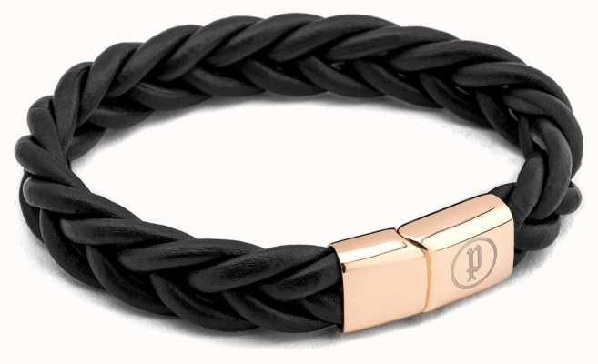 Police Mens Black Leather Rose Gold Steel Bracelet 25498BLBRG/03-L