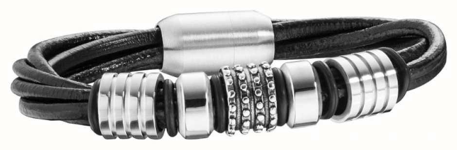 Police Mens Black Leather Stainless Steel Bracelet 25718BLB/01-L