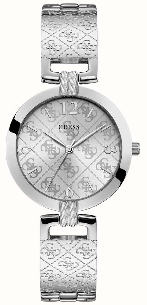 GuessWomens G Bracelet Luxe Silver Stainless Steel Dial wn0OPkX8